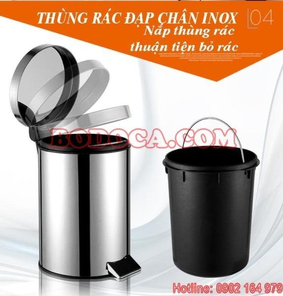 Thung rac inox dap chan 90